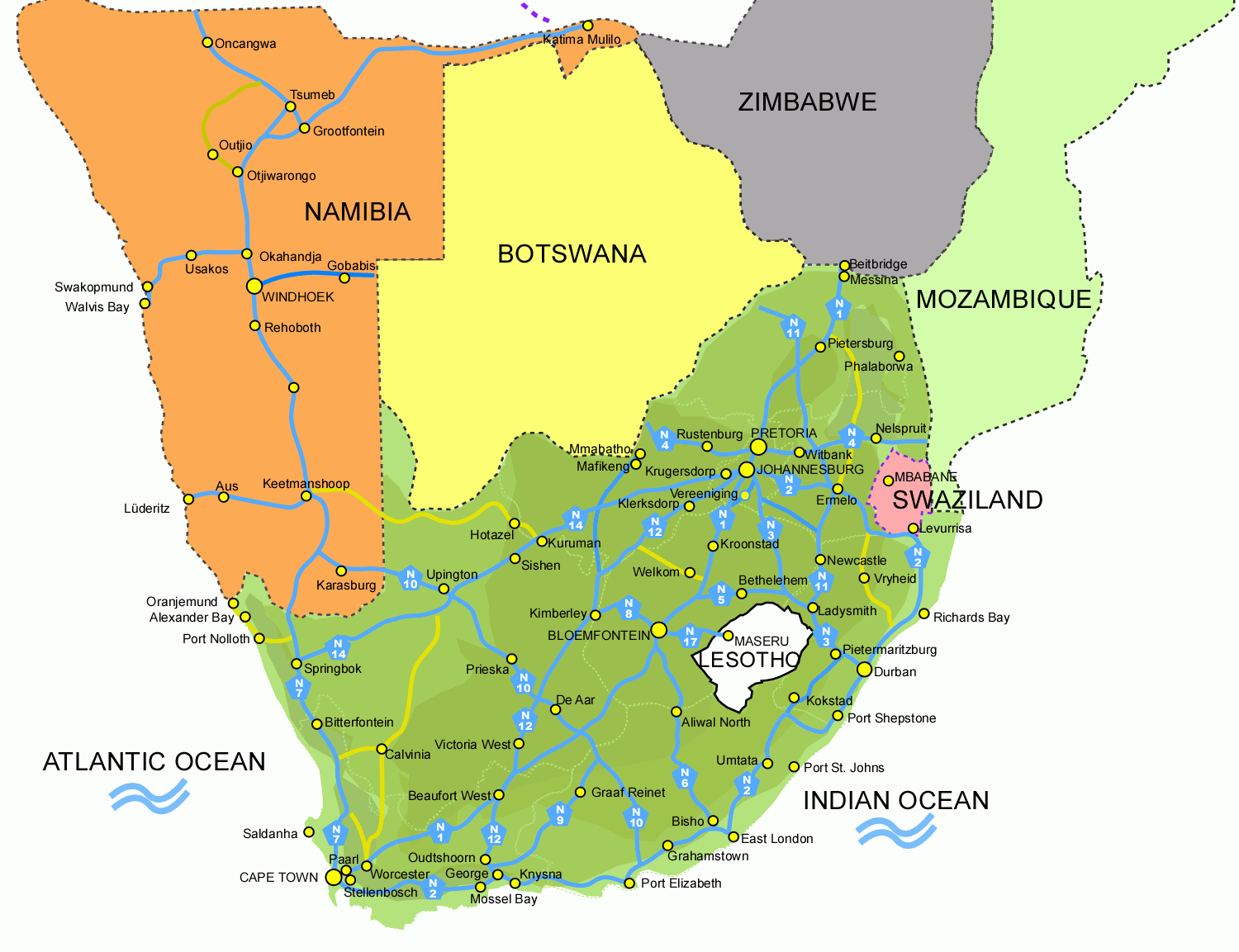 South Africa And Adjacent African Countries With FriendsTravelcom - South africa map countries